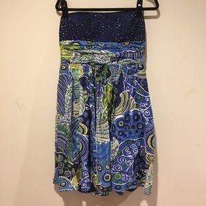 Anne Klein Strapless Dress Blue & Multicolor 14